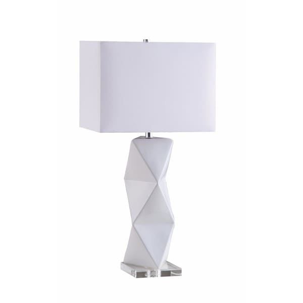 Geometrically Charmed White Table Lamp