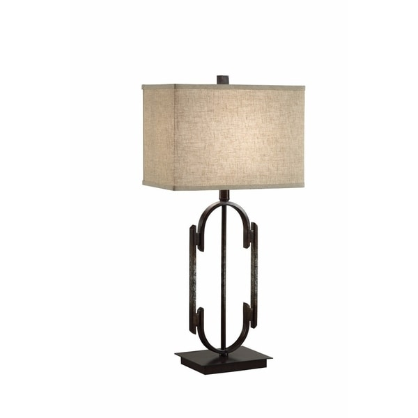 Rustically Charmed Solid Table Lamp, Bronze And Beige
