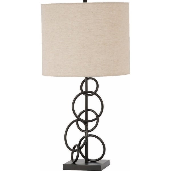 Contemporary Style Metal Table Lamp, Brown And Ivory