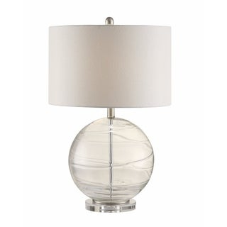 Stylish Glass Table Lamp With Spherical Base, White And Clear