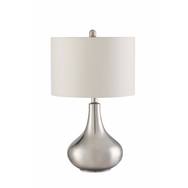 Sophisticated Teardrop Glass Table Lamp, White And Clear