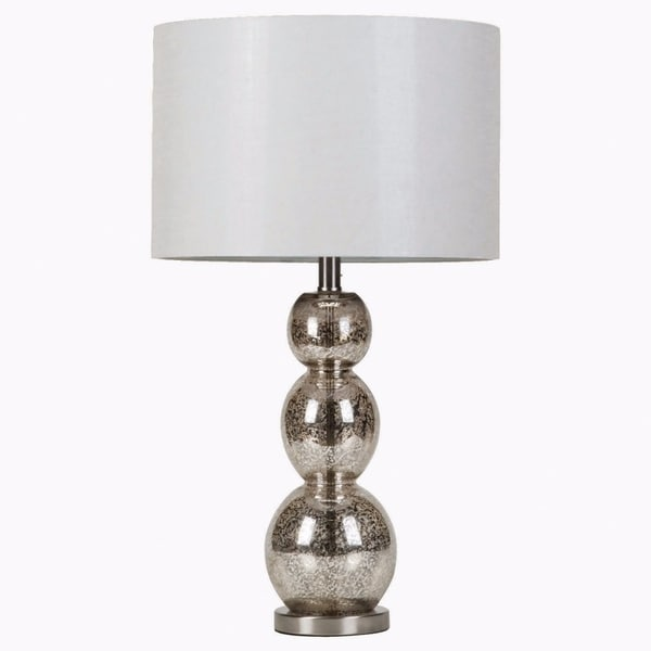Adorning Metallic Table Lamp, White And Silver
