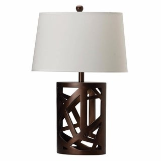 Contemporary Table Lamp With Intriguing Base, Brown And White
