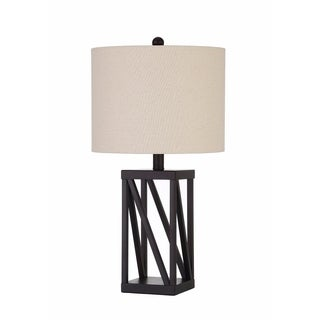 Table Lamp With Geometric Base And Drum Shade, Black