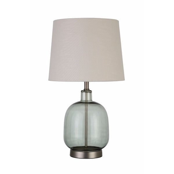 Adorning Table Lamp With Glass Base, White And Green