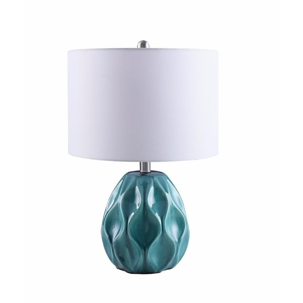 Exquisite Wave Designed Table Lamp, White And Blue