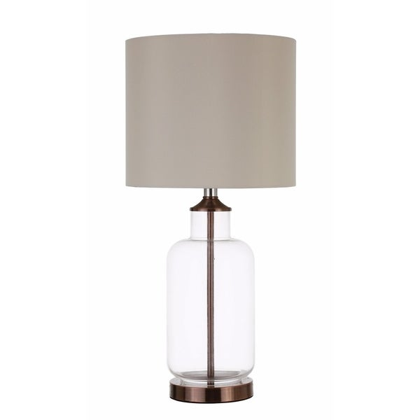Glass Jar Shaped Metal Table Lamp, Bronze And Clear