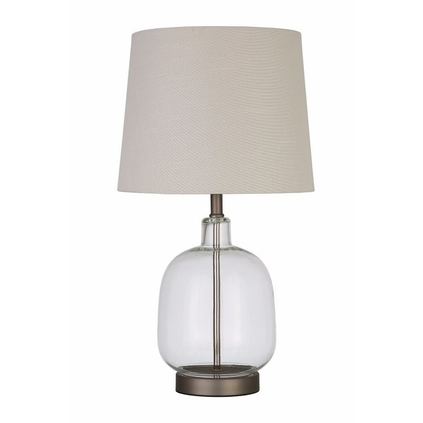Beautifully Designed Glass Table Lamp, White And Clear