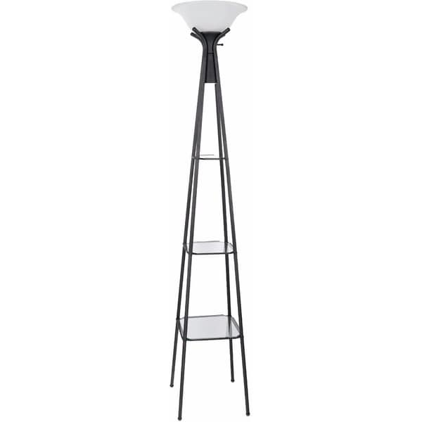 Torchiere Floor Lamp With Clear Glass Shelving, Black And White