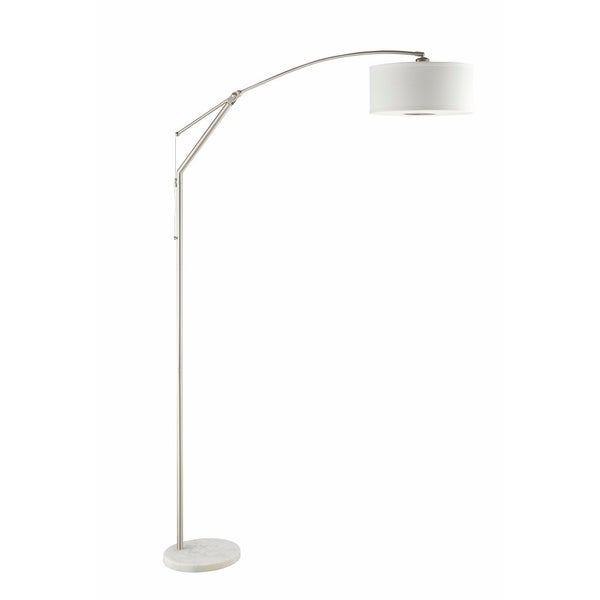 Contemporary Over Arching Metal Floor Lamp, White And Silver