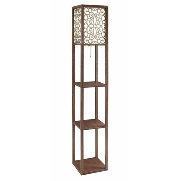 Intriguing Wooden Floor Lamp With Three Shelves, Brown