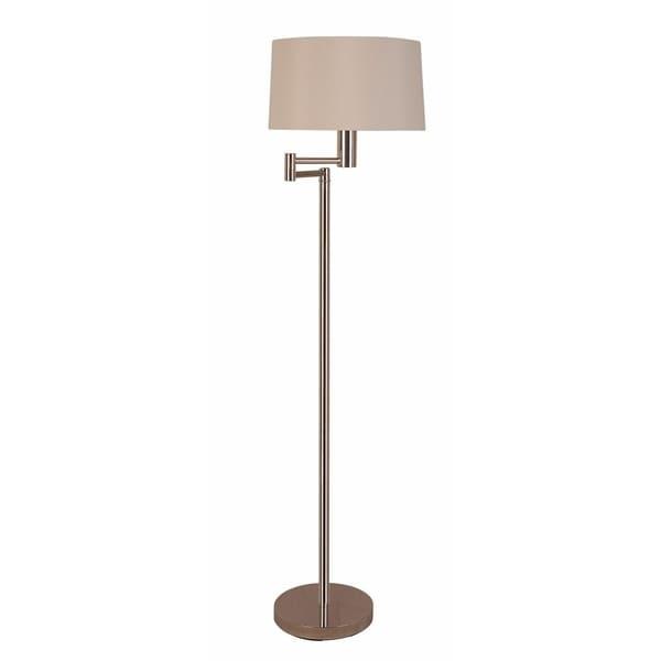 Simple Metal Floor Lamp With Adjustable Base , Silver