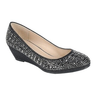 FOREVER FP80 Women's Rhinestone Slip On Wrapped Wedge Heel Dress Shoes (2 options available)