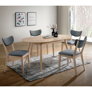 Furniture of America Seto Mid-Century Modern Natural Tone Oval Dining Table