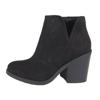 Soda Women's Side Zipper Stacked Chunky Heel Perforated Ankle Booties