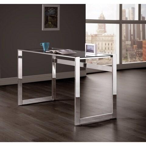 Elegantly Charmed Metal Writing Desk, Silver