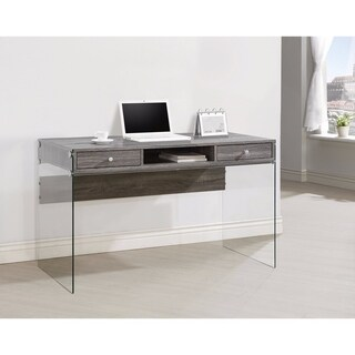 Modern Metal Writing Desk with Glass Sides, Clear And Gray