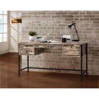 Rustic Style Wooden Writing Desk with Drawers