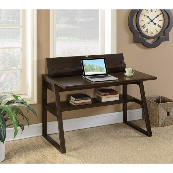 Modern Style Wooden Writing Desk With Flip-Top, Brown