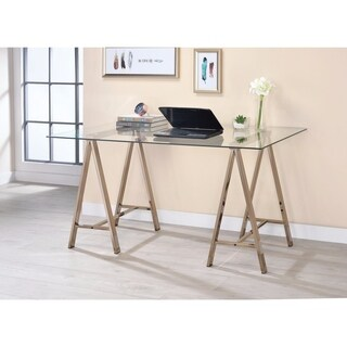 Captivating Metal Writing Desk With Glass Top, Clear And Gold