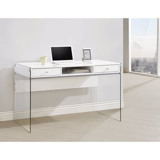 Contemporary Metal Writing Desk with Glass Sides, Clear And White