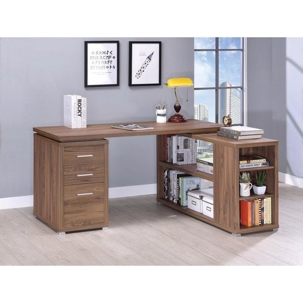 Modern Style L-Shaped Wooden Office Desk, Brown