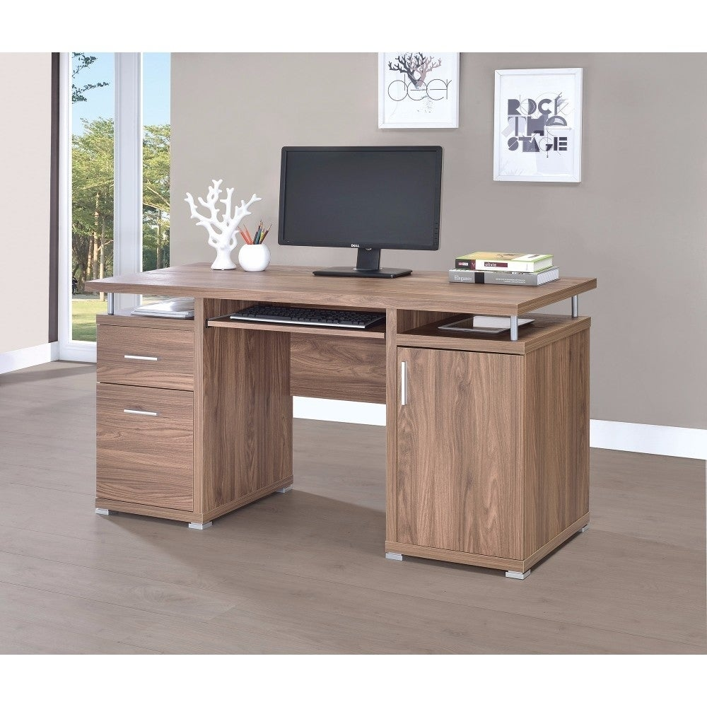 Sophisticated And Stylish Wooden Office Desk, Brown