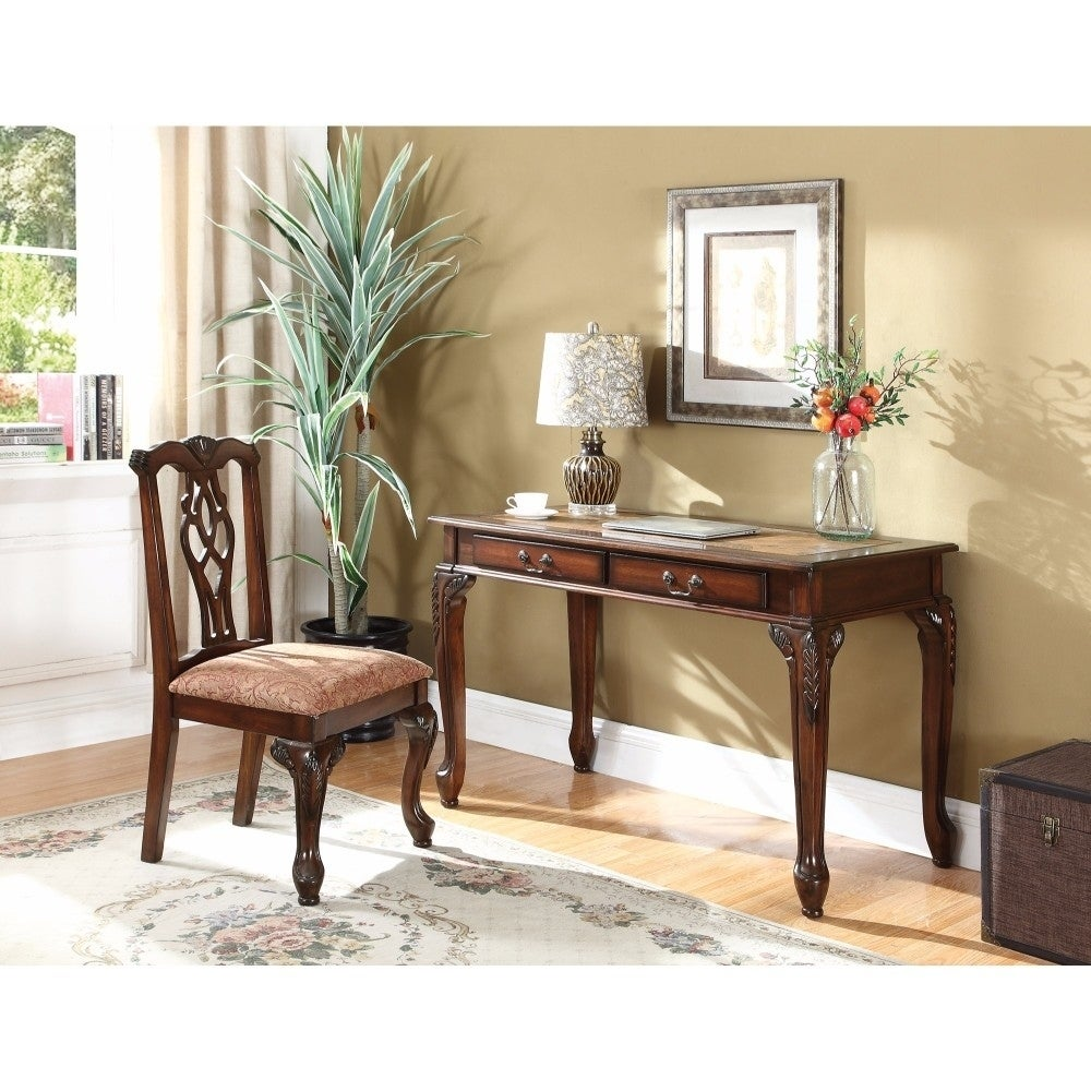 Benzara Traditional Style Wooden Carved Desk Set, Brown, ...