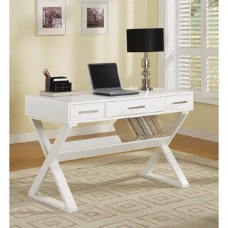 Contemporary Writing Desk With 3 Drawers, White