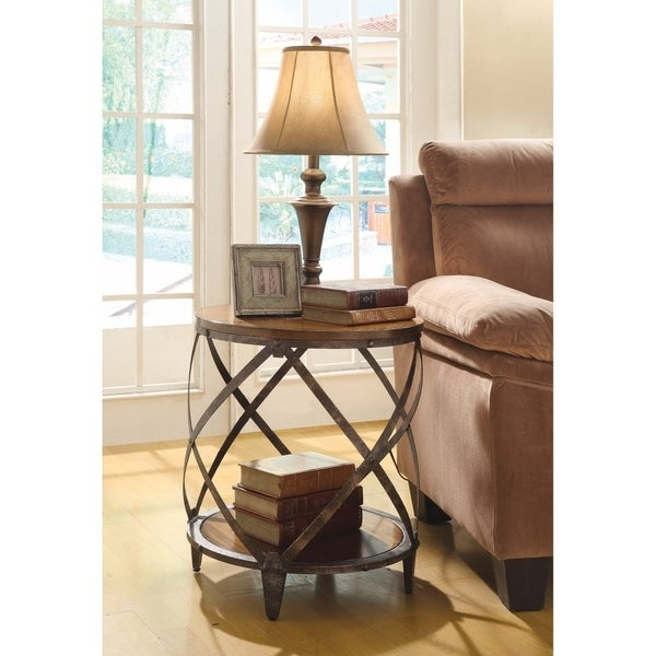 Contemporary Metal Accent Table With Drum Shape, Brown