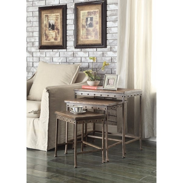 Set Of 3 Wooden Nesting Tables With Metal Base, Brown