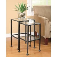 Set Of 2 Metal Nesting Tables With Glass Top, Black