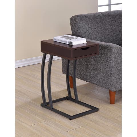 Stylish Accent Table with Storage Drawer and Outlet, Brown