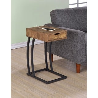 Antique Accent Table with Storage Drawer and Outlet, Brown