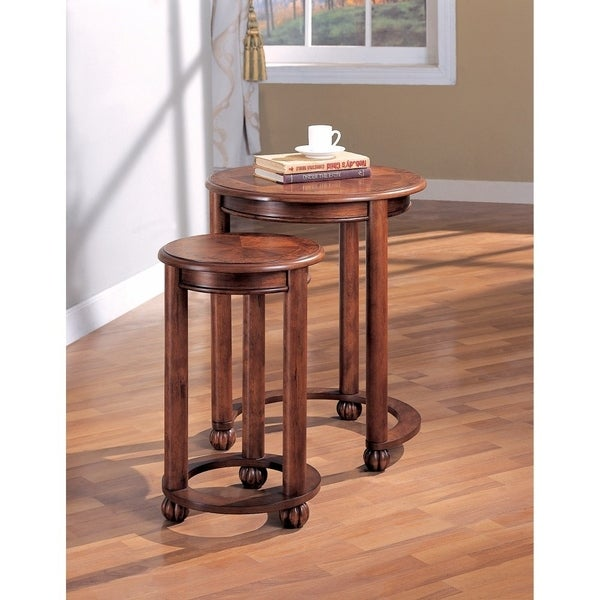 Set Of 2 Traditional Wooden Round Nesting Tables, Brown