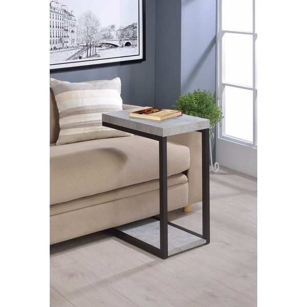Industrial Faux Cement Designed Snack Table, Gray And Black