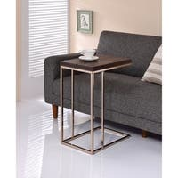 Classic Brown Wooden Top Snack Table With Chrome Legs