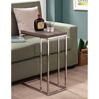 Rectangular Wooden Snack Table With Metal Base, Gray And Silver