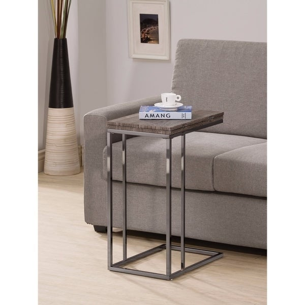 Stylish Wooden Snack Table With Metal Base, Gray