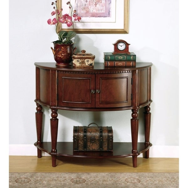 Brown Wooden Console Table With Curved Front & Inlay Shelf
