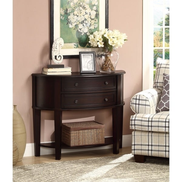 Demilune Wooden Console Table With 2 Drawers Brown Free Shipping Today 19884372