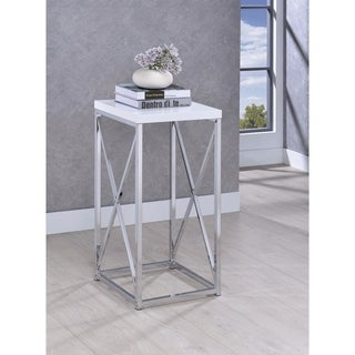 Fine-Looking Metal Accent Table , White And Silver