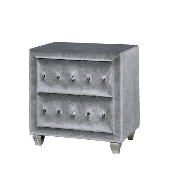 Silver Orchid Beyers Contemporary Grey Upholstered Tufted Nightstand