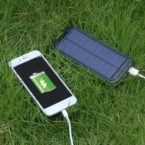 Portable Solar Power 20000mAh Dual USB Power Bank External Battery Charger for Cellphone
