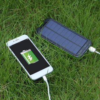 Portable Solar Power 20000mAh Dual USB Power Bank External Battery Charger for Cellphone