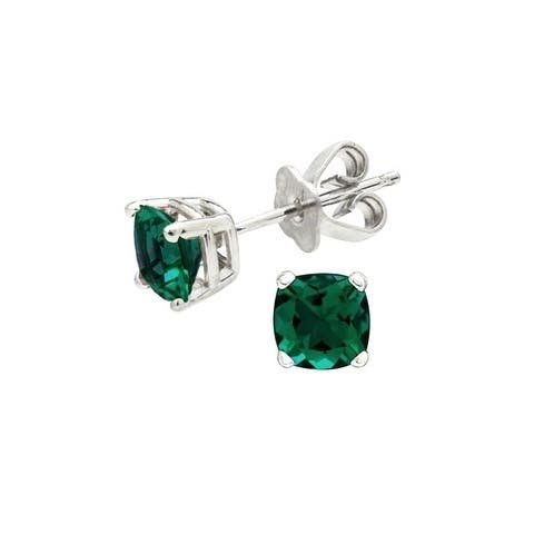 Created Emerald Cushion Stud Earrings In 14k White Gold (5mm)