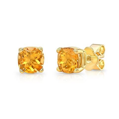 Citrine Cushion Stud Earrings In 14k Yellow Gold (5mm)