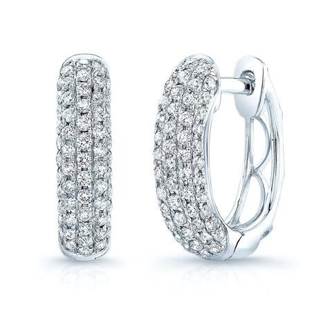 Diamond Pave Oval Huggie Earrings in 14k White Gold (0.62 ct. t.w.)
