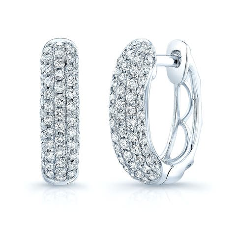 Diamond Pave Oval Huggie Earrings In 14k White Gold (0.62 ct. t.w.)
