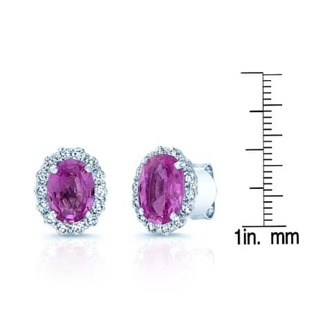 Pink Sapphire And Diamond Earring In 14k White Gold (1/2 Ct. Tw.)